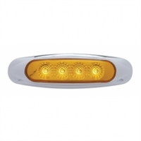 4 LED Reflector Clearance/Marker Light - Amber LED/Amber Lens