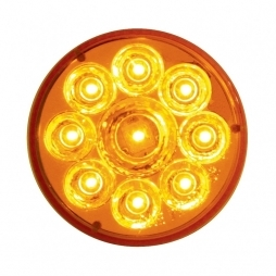 "9 LED 2 1/2"" Reflector Clearance/Marker Light - Amber LED/Amber Lens"
