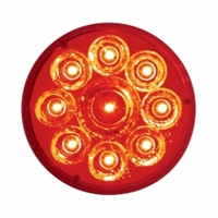 "9 LED 2 1/2"" Reflector Clearance/Marker Light - Red LED/Red Lens"