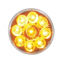 "9 LED 2 1/2"" Reflector Clearance/Marker Light - Amber LED/Clear Lens"