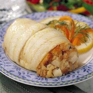 Fillet of Sole Stuffed with Scallops and Crab