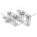 CONTEMPORARY TRUSS TABLE 48 IN SQUARE BY 25 INCH HIGH