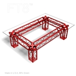 "CONTEMPORARY TRUSS TABLE WITH 88'' D BY 60"" W RECTANGLE GLASS TOP"