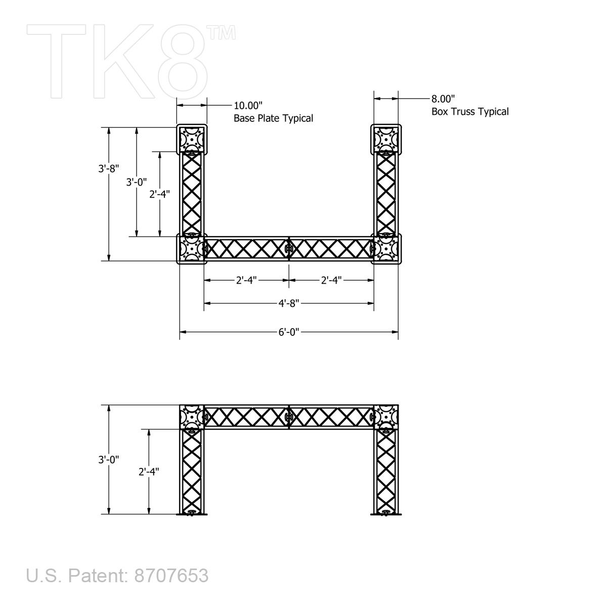 TK8 DJ 0406 6?1435328312 dj four 4ft x 6ft tk8 aluminum box truss dj stand [frame only]