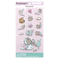 GUND Pusheen Meowmaids Mermaid Sticker Sheet 14-Piece Stickers, Multicolor