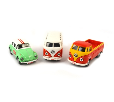 Coca-Cola VW Diecast Cars 3 Pack: Samba Bus, Beetle, T1 Pickup