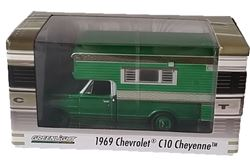 1969 Chevrolet C10 Cheyenne with Large Camper Hobby Exclusive (Green Machine)