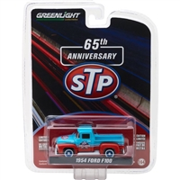 Greenlight - Anniversary Collection Series 6 - 1954 Ford F-100 Truck Blue and Orange STP 65th Anniversary