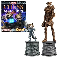 Marvel Rocket Raccoon and Groot Bishop Chess Pieces with Collector Magazine