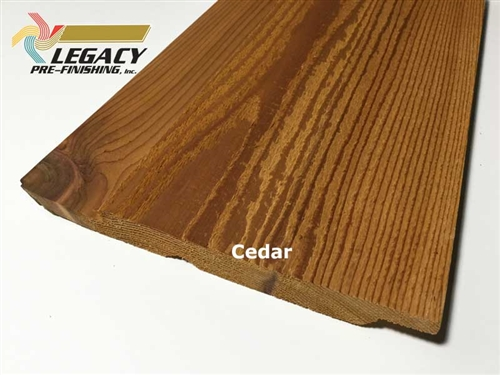 Prefinished Cedar Channel Rustic Siding - Cedar Stain