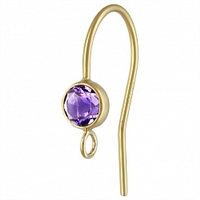 14K Gold Earwire with 4mm Amethyst