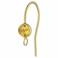 14K Gold Earwire with 4mm Citrine