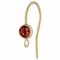 14K Gold Earwire with 4mm Garnet