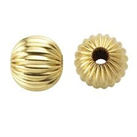 14K Gold Filled Corrugated Round Bead - 6mm - 2mm Hole Size