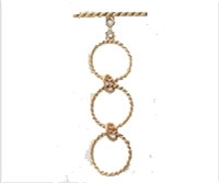 14K Gold 3-Ring Adjustable Twisted Toggle Clasp - 14mm