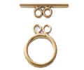 14K Gold 2-Strand Smooth Toggle Clasp - 15mm