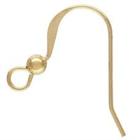 14K Gold Filled Flat Fishhook with Bead