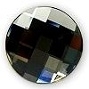 14mm Flatback Round Chessboard Black Diamond