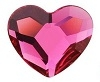 Swarovski 6mm Heart flat back- Fuchsia