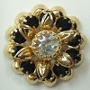 2 Tone Flowerette-17mm-JET/CRYSTAL/GOLD
