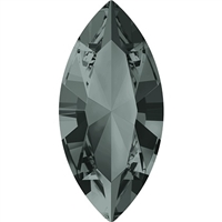 Swarovski #4228, 6 x 3mm Pointed Back Navette- Black Diamond