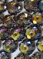 8mm Gemstone Bead Black Diamond AB Satin