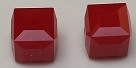 4mm Cube Bead Dark Red Coral