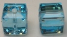 8mm Cube Bead Aquamarine