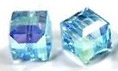 8mm Cube Bead Aquamarine AB