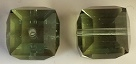 8mm Cube Bead Chrysolite Satin