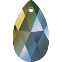 28mm Teardrop Pendant Crystal Iridescent Green