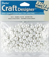 Pearls - Round - White - Assorted Sizes - 36 grams