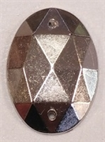 18 x 25mm Metalized Plastic Sew-On Faceted Oval- Silver #8933