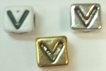 6mm Square Plastic Letter- V