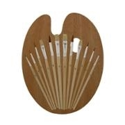 Artists Best 12 Piece Brush Set with Wood Palette
