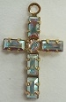 Baguette Stone Cross-19 x 12mm-CRYSTAL AB/GOLD
