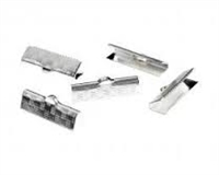 "5/8"" Choker/Ribbon Ends-IMITATION RHODIUM SILVER"