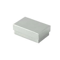 "#21 Silver Solid Top Jewelry Box- 2 1/2"" x 1 1/2"" x 7/8"""