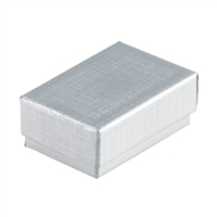 "#32 Silver Solid Top Jewelry Box- 3 1/8"" x 2 1/8"" x 1"""