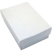 "#32 White Krome Solid Top Jewelry Box- 3 1/8"" x 2 1/8"" x 1"""