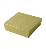 "#33 Gold Solid Top Jewelry Box- 3 1/2"" x 3 1/2"" x 1"""