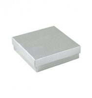 "#33 Silver Solid Top Jewelry Box- 3 1/2"" x 3 1/2"" x 1"""