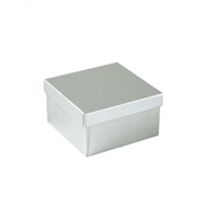 "#34 Silver Solid Top Jewelry Box- 3 1/2"" x 3 1/2"" x 2"""