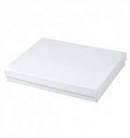 "#75 White Swirl Solid Top Jewelry Box- 7"" x 5 1/2"" x 1"""