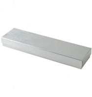 "#82 Silver Solid Top Jewelry Box- 8"" x 2"" x 7/8"""