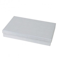 "#85 Silver Solid Top Jewelry Box- 8"" x 5 1/2"" x 1 1/4"""