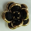 2 Tier Channel Flower Button-16mm-JET/GOLD