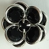 2 Tier Channel Flower Button-16mm-JET/SILVER