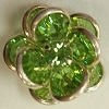 2 Tier Channel Flower Button-16mm-PERIDOT/SILVER
