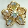 Small Channel Flower Button-14mm-CRYSTAL AB/GOLD